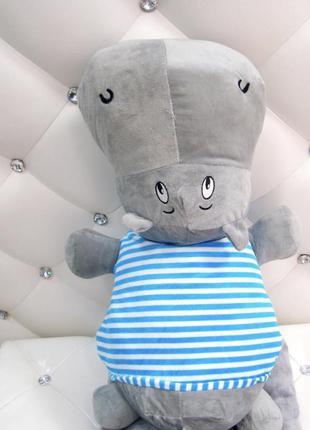 Комплект 3в1 игрушка-подушка бегемот с пледом внутри синий и с...
