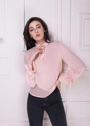 Женская блузка розовая блуза пудра
