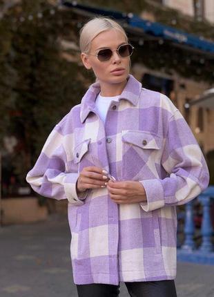 Трендовая рубашка сиреневая оверсайз в клетку фиолетовая