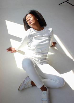 Прогулочный костюм спортивный  белый женский реглан/свитшот и ...