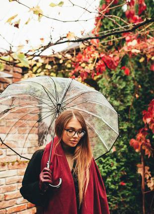 Прозрачный зонт ☂ парасоля женский зонтик трость