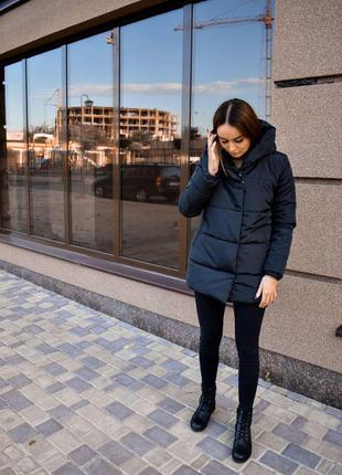 Зимняя куртка еврозима курточка черная женский пуховик черный