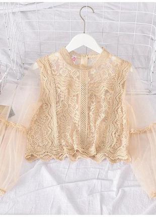 Кружевная блузка бежевая с рукавом