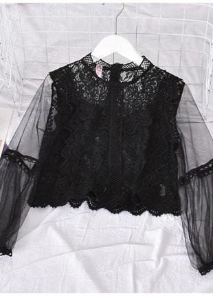 Кружевная блузка черная с рукавом