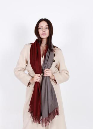 Кашемировый шарф женский бордовый