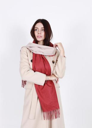 Кашемировый шарф женский бежевый-красный