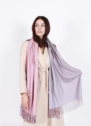Кашемировый шарф женский розовый пудра