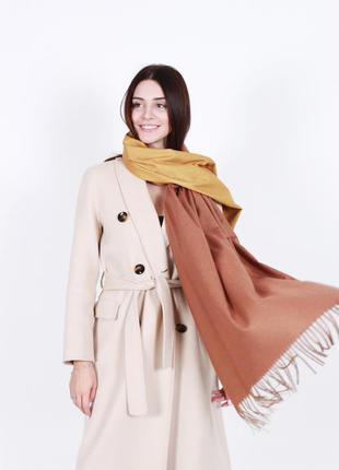 Кашемировый шарф женский желтый капучино