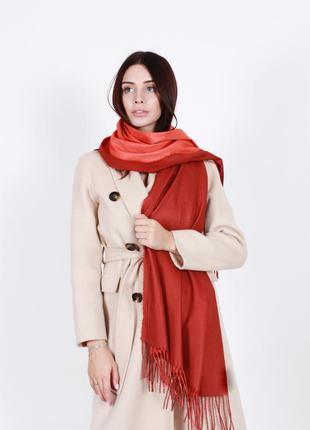 Кашемировый шарф женский красный коралловый