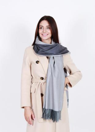 Кашемировый шарф женский серый графит