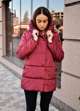 Зимняя куртка еврозима курточка черная женский пуховик бордовый