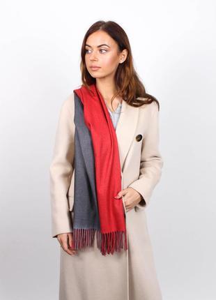 Кашемировый шарф женский красный серый