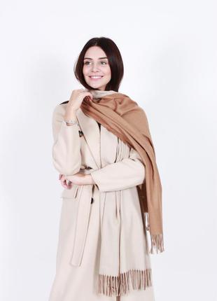Кашемировый шарф женский бежевый капучино
