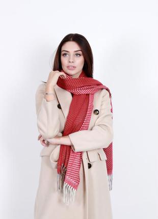 Красный шарф большой женский двойной
