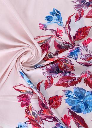 Цветочный розовый пудровый шарф 8 расцветок