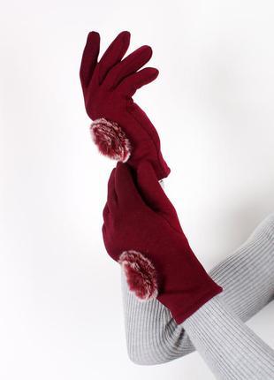 Красные женские перчатки трикотажные сенсорные теплые перчатки...