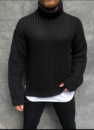 Мужской свитер черный большой вязки гольф оверсайз