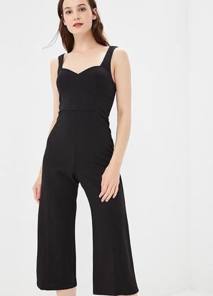 Черный комбинезон  с брюками кюлотами