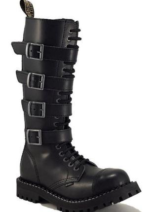 Ботинки берцы сапоги высокие стилы steel рок обувь кожа