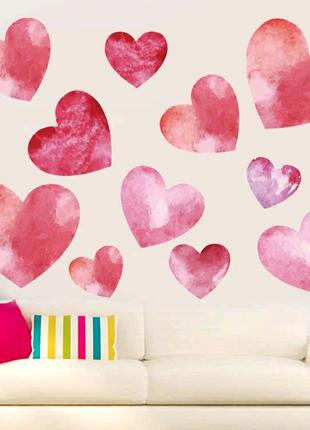 Декоративная виниловая наклейка на стену обои Сердечки Love
