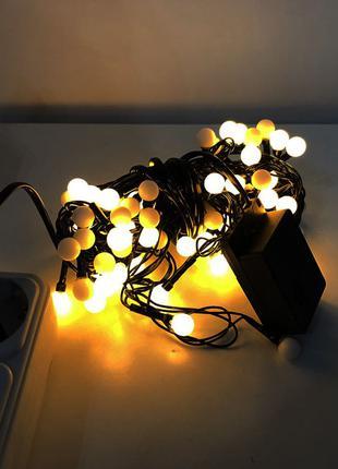 Гирлянда-нить (String-Lights) внутренняя белый-теплый (пров.:черн