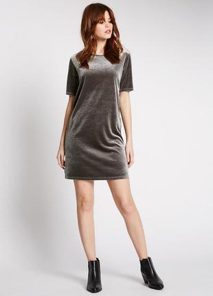 M&s велюровое бархатное платье-футболка с прозрачной спинкой, ...