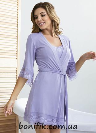 "Бамбуковый женский халат на поясе ""Purple"" (арт. 863)"