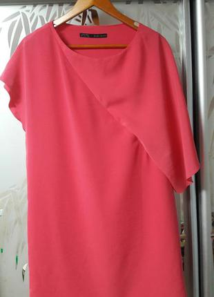 Платье розовое вечернее zara basic