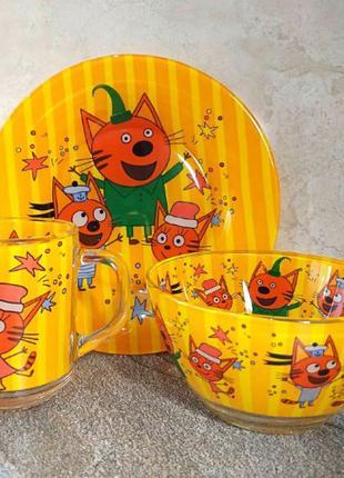 """Набор детской посуды """"Три кота"""""""