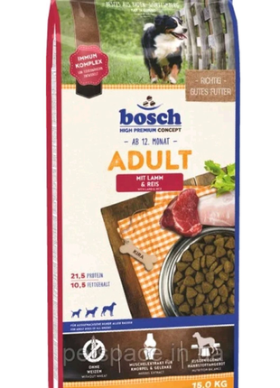 корм для собак Bosch adult lamb & rice 15кг
