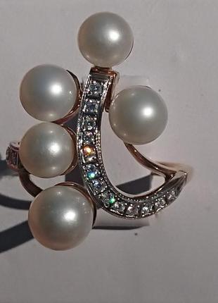 Роскошное кольцо бриллианты жемчуг золото 585 18,5 р +Видео