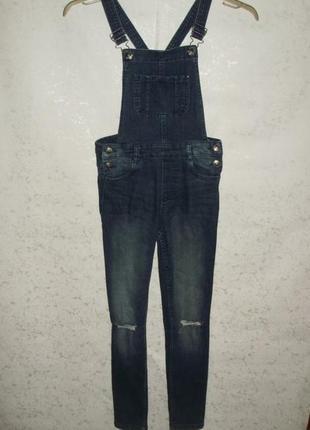Стильный стрейчевый джинсовый комбинезон для девочки 9-10 лет ...