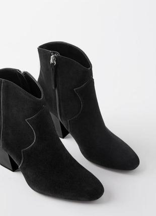 Полусапоги кожаные замшевые zara на каблуке, в ковбойском стил...