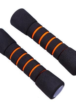 Гантели IronMaster, неопрен, 1 кг х 2 шт, черно/оранжевый/гантелі