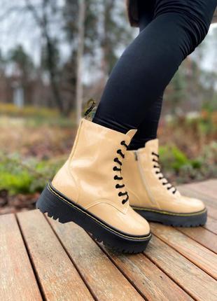 Женские Зимние Кожаные Ботинки На Меху Dr.Martens Jadon Beige Pat