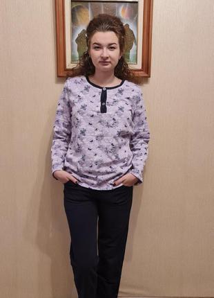 Теплый комплект для дома/ байковая пижама/ пижама с начесом
