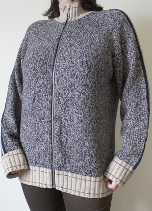 Вязаный серый мужской свитер-толстовка chevignon (шерсть, акрил)
