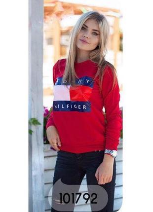 Кофта батник женская бордовая с логотипом tommy hilfiger п57