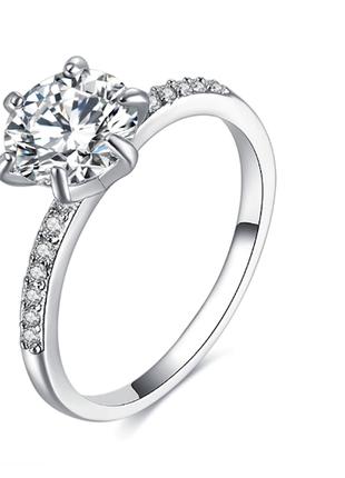 Женское кольцо с белым кубическим цирконом код 1611