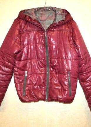 Куртка дутая пуфер объемная фиолетовая демисезонная зимняя с к...