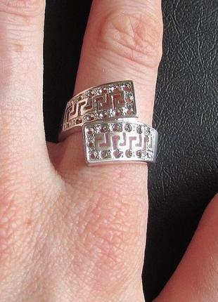 🏵стильное кольцо в серебре 925 греческий орнамент, 17 р., ново...