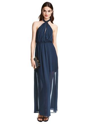 Вечернее темно-синее платье в пол/макси платье с декольте/длин...