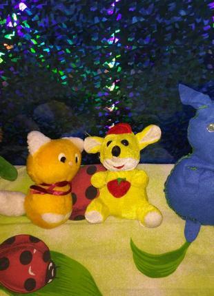 Мягкие игрушки кот лев мыша свинка