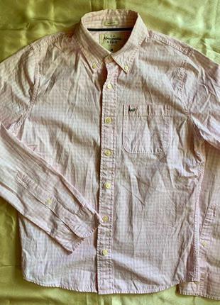 Бело-розовая рубашка в клетку Abercrombie & Fitch размер M