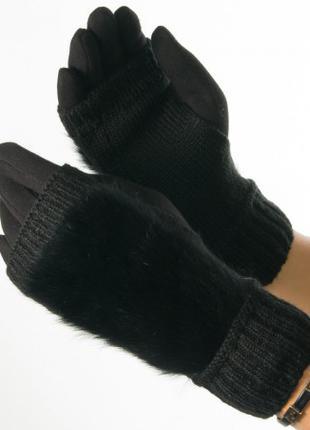 Женские перчатки- митенки  с вязаной вставкой с натурального меха