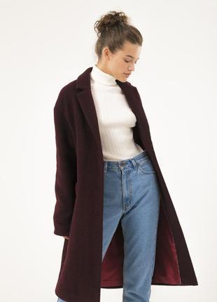 Стильное женское пальто season цвета баклажан
