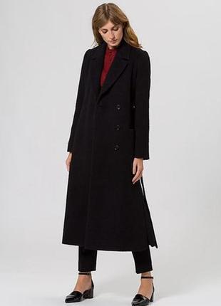 Черное мохеровое пальто ivy & oak. размер м-л