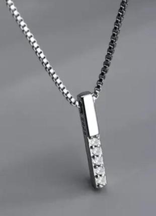 ❄️стильная серебряная подвеска кулон цепь с цирконием s925❄️