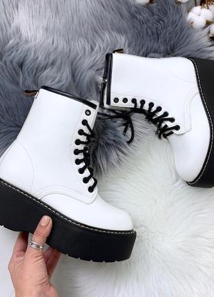 Крутые белые массивные ботинки на шнуровке,грубые ботинки на в...