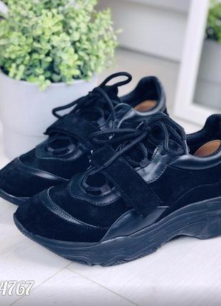 Чёрные замшевые кроссовки, демисезонные чёрные кроссовки из на...